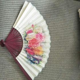老折叠扇(杭州王星记扇厂制)有沈阳市沈河中药厂鹿胎膏广告,全新