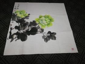 国画(斗方):绿牡丹(王瑞画)