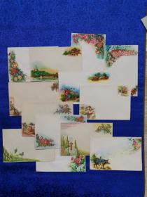 五十年代美术封13枚,品相好,内容丰富,有牛郎织女 名胜古迹等。