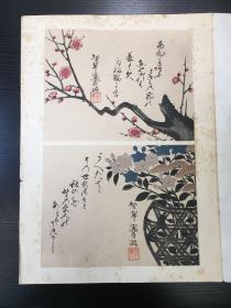 日本三大窑工之一 尾形乾山 木版画花卉 其陶瓷绘画受茶家追捧
