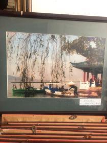 春到西湖,外国人眼中的浙江 原版大幅彩照,原镜框,如图