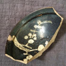 吉州窑黑釉月影梅束口盏瓷片