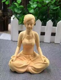 精品黄杨木雕件少女瑜伽三件套/放松身心,吐纳天地(也可单出,单件150)