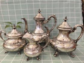 西洋 欧洲古董 银器 茶壶 咖啡壶 4个合售 共1933克 可分开出售
