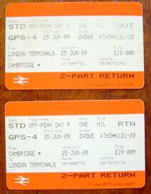 英国火车票(伦敦至剑桥往返票  共2张)