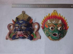 文革铝质(牛鬼蛇神)面具挂件2个