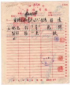 邮电和电信单据类-----中华民国34年(1945年)四川万县中国银行