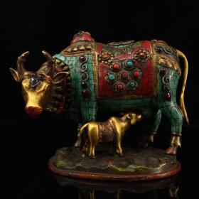 西藏收老纯铜纯手工打造镶嵌宝石彩绘描金母子牛    母子平安牛     重2999克   高17厘米   宽22厘米