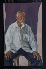 新锐艺术家 荣-晗 2014年布面油画作品《老人像》一幅 (作品直接得自于艺术家本人;尺寸65*40cm,绷框 ) HXTX109432