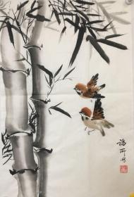 【保真】山西省美协会员、著名画家段福所竹鸟图