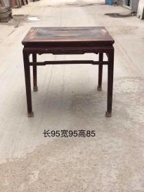 清中期:秋木八仙桌,四面雕工,完整无残原汁原味,包老