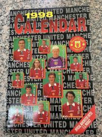 曼联挂历(1998年全年12张球星,外封套,品相完美)