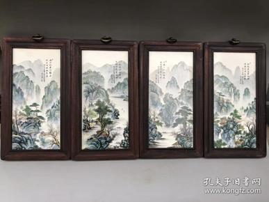 瓷板畫粉彩山水,高28 寬16cm 。
