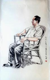 四尺整张,纯手绘人物画。托片138*68
