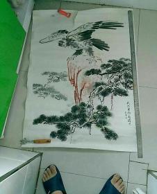 当地已故,著名画家马钟潭先生松鹰图,大幅罕见