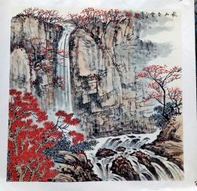 白雪石 款,四尺斗方托片山水镜心(秋山白云)