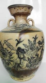 民国;耀州窑系青花花卉、凉亭、人物、鸟、文字---王羲之爱放鹅、酒墩子