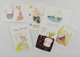 美术艺术水彩画题材  明信片--动物奇趣1(6张/套) (动物水彩画题材)品净 空白未写