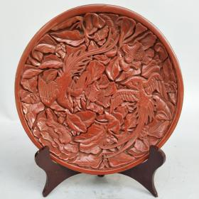 剔红漆器盘子《凤凰戏牡丹》漆器赏盘摆件