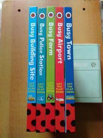 LADYBIRD BOOKS(5册合售):Busy Farm、Busy Police Station、Busy Building Site、Busy Airport、Busy Town繁忙的农场、繁忙的警察局、繁忙的建筑工地、繁忙的机场、繁忙的城镇【瓢虫图书 精装24开 全英文版 翻盖书】