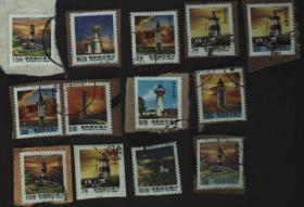 台湾邮政用品、邮票、信销邮票、台湾建筑、标志、灯塔信销票13枚合售