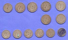 伪满洲国钱币-----伪满洲国不同年号镍币和白铜币,共13枚(3组)