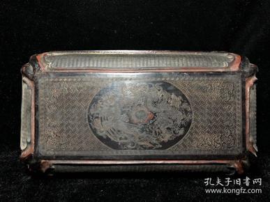 竹丝云龙戏珠漆器盒