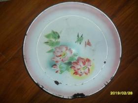 花丛蝴蝶---文革搪瓷盘