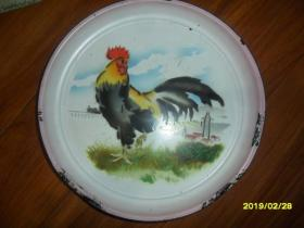 雄鸡一唱天下白----文革老搪瓷盘