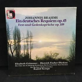 古典音乐黑胶唱片:一盒两张全《巴赫作品:德意志安魂曲》 (Johann Sebastian Bach): Ein deutsches Requiem op.45  Fest-und Gedenkspruche op.109 七八十年出版 大33转  品好