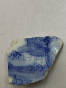茉莉瓷片-清代康熙亭子图案青花碗底瓷片