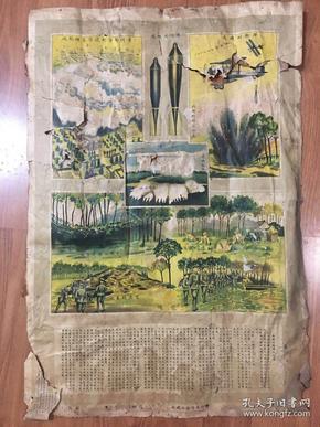 民国抗战时期飞机的掷弹及防御宣传画