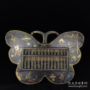 老木胎漆器蝴蝶形算盘长60,宽41厘米,重3公斤
