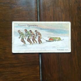 早期外国烟卡一枚:极地探险第二组雪橇队