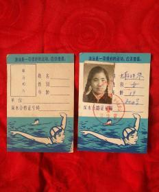北京市游泳体格检查证(学生)俩张1978