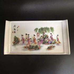 收藏十二金钗瓷茶盘古董陶瓷古瓷茶桌摆件收藏品