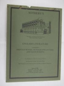 Sothebys English Literature Comprising Printed Books ,Autograph Letters And Manuscripts(苏富比英国文学,包括印刷书籍,签名信和手稿目录)