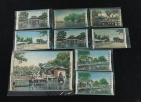 解放初期杭州都锦生丝织厂西湖风光织锦一组9幅。 尺寸:29×19cm ×1、17×11cm ×8