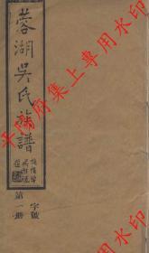 江苏无锡 蓉湖吴氏族谱 宗谱 家谱 家乘(复印本)