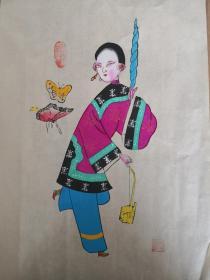 精美布展品!!少见的早期绵竹木版年画版画*南派代表陈云福作品带印章*仕女图之一
