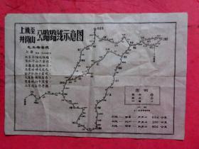 文革串联长征地图《上饶至井岗山公路路线示意图》【8开】【有毛主席七律长征诗】