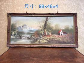 老油画一副,纯手绘,品相一流,尺寸如图,完整漂亮