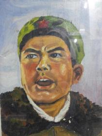 文革时期画家邱光正水彩画人民解放军