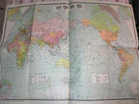世界地图(4开•各国面积人口表)1959年