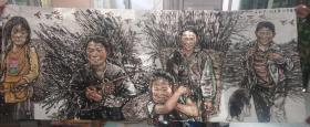 中国美协会员 张龙  小八尺参赛作品 留守儿童 2015年(240*96)中国美术家协会会员