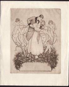 近代西洋藏书票 德国艺术家 凯勒 蚀刻版 藏书票
