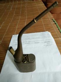 寿星铜水烟壶,四方有图有对联。