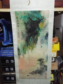 丝绸泼彩画~空山独步图~锦帛画