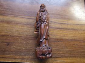 黄杨木雕达摩祖师造像摆件