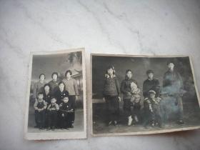五六十年代【全家福家人照】2张,15/11厘米,12/8厘米